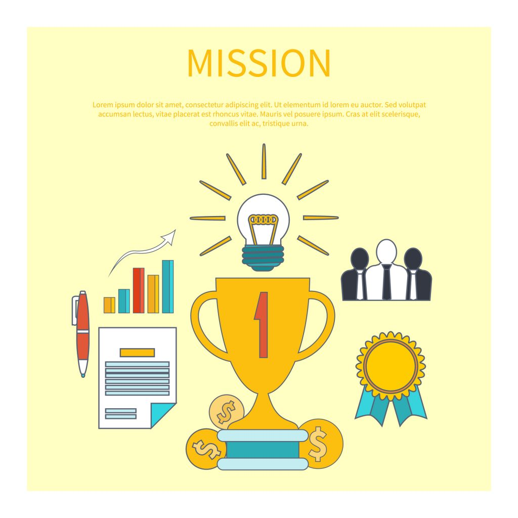 Mission concept with item icons in flat design. Winner in business start up